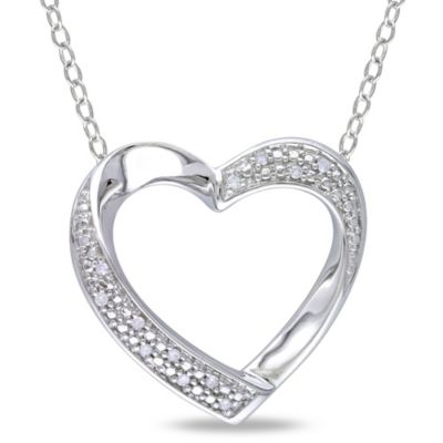 Sterling Silver .06 cttw Pave Diamond Twisted Heart Pendant