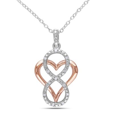 Sterling Silver .06 cttw Diamond Infinity and Pink-Colored Sterling Silver Heart Pendant