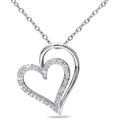 Sterling Silver 1/10 cttw Diamond Shadow Heart Pendant