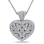 Sterling Silver .06 cttw Diamond Heart Locket Pendant