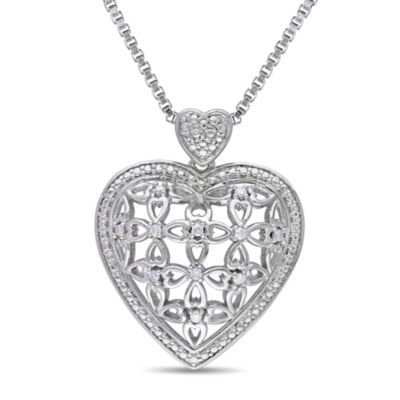 Sonatina Vintage Sterling Silver 1/10 cttw Diamond Cut-Out Heart Pendant