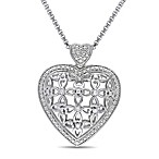 Sterling Silver 1/10 cttw Diamond Cut-Out Heart Pendant