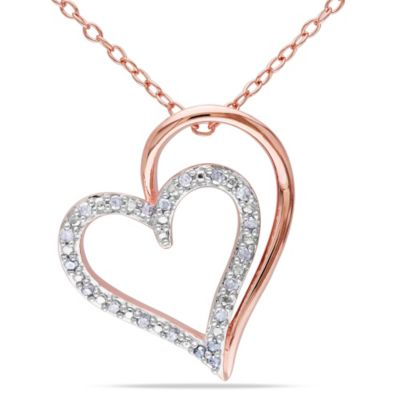 14K Rose Gold and Sterling Silver 1/10 cttw Diamond Shadow Heart Pendant