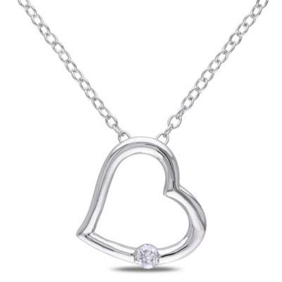 Sterling Silver .06 cttw Diamond Classic Heart Pendant
