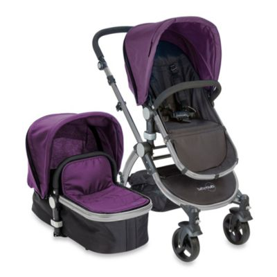 babyroues letour II Bassinet and Stroller Frosted Silver Frame System in Purple