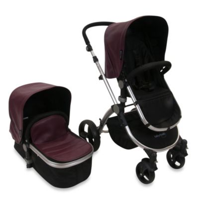 babyroues letour lux II Bassinet and Stroller Frosted Silver Frame System in Mauve Leatherette