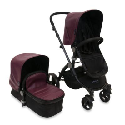 babyroues letour lux II Bassinet and Stroller Black Frame System in Mauve Leatherette