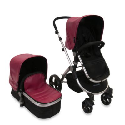 babyroues letour lux II Bassinet and Stroller Frosted Silver Frame System in Raspberry Leatherette