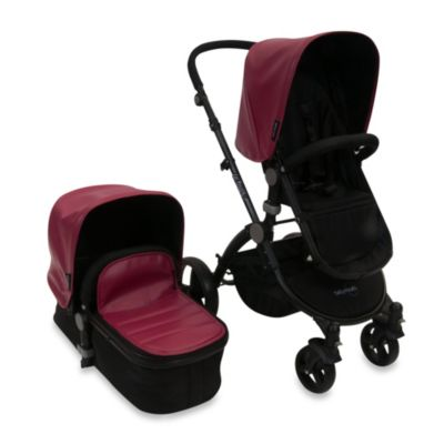 babyroues letour lux II Bassinet and Stroller Black Frame System in Raspberry Leatherette
