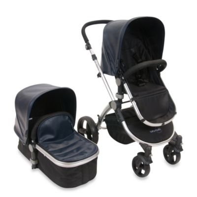 babyroues letour lux II Bassinet and Stroller Frosted Silver Frame System in Navy Leatherette