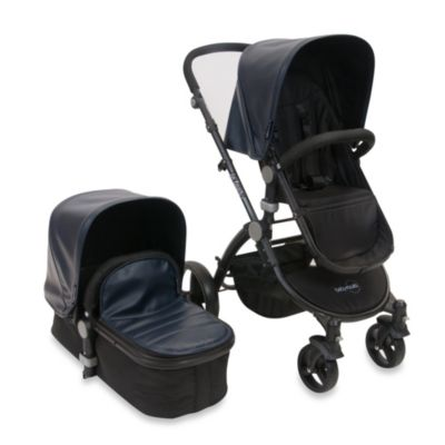 babyroues letour lux II Bassinet and Stroller Black Frame System in Navy Leatherette
