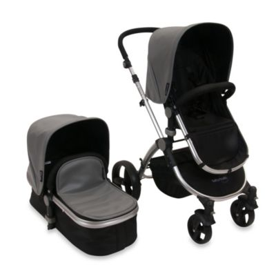 babyroues letour lux II Bassinet and Stroller Frosted Silver Frame System in Grey Leatherette