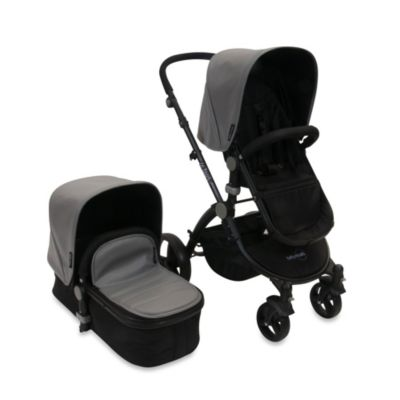 babyroues letour lux II Bassinet and Stroller Black Frame System in Grey Leatherette