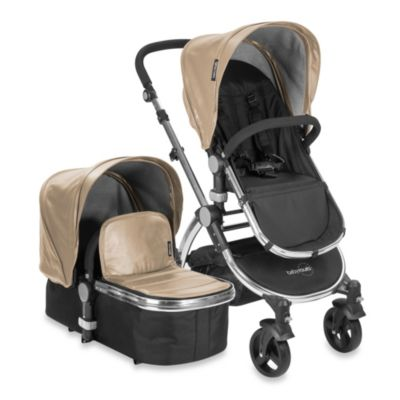 babyroues letour lux II Bassinet and Stroller Frosted Silver Frame System in Tan Leatherette