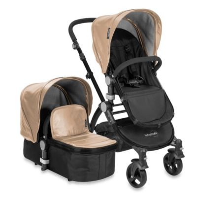 babyroues letour lux II Bassinet and Stroller Black Frame System in Tan Leatherette