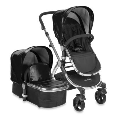 babyroues letour lux II Bassinet and Stroller Frosted Silver Frame System in Black Leatherette