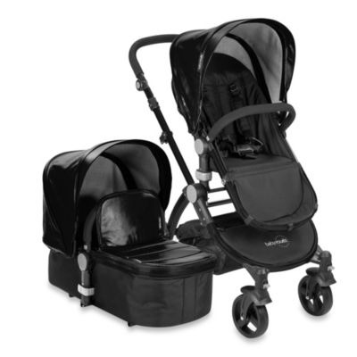 babyroues letour lux II Bassinet and Stroller Black Frame System in Black Leatherette