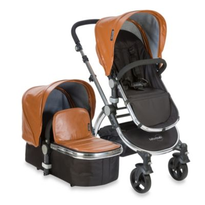 babyroues letour lux II Bassinet and Stroller Frosted Silver Frame System in Camel Leatherette