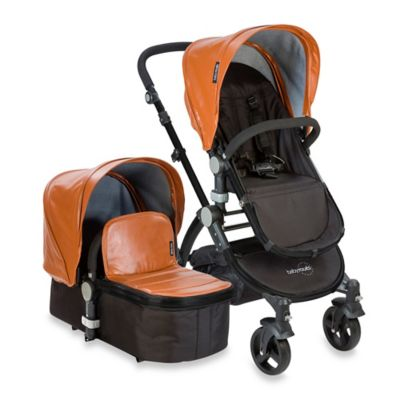 babyroues letour lux II Bassinet and Stroller Black Frame System in Camel Leatherette