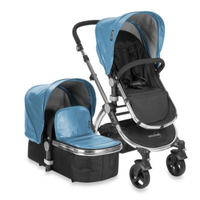 babyroues letour lux II Bassinet and Stroller Frosted Silver Frame System in Blue Leatherette