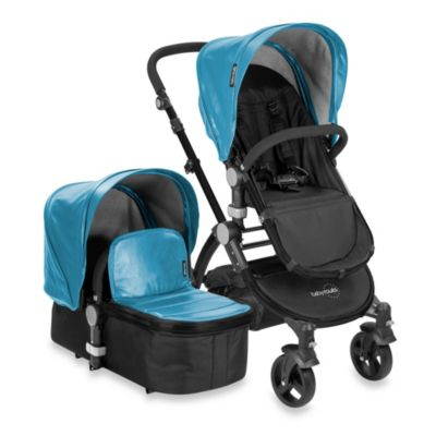 babyroues letour lux II Bassinet and Stroller Black Frame System in Blue Leatherette
