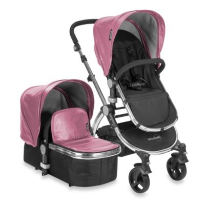 babyroues letour lux II Bassinet and Stroller Frosted Silver Frame System in Pink Leatherette