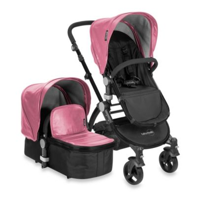 babyroues letour lux II Bassinet and Stroller Black Frame System in Pink Leatherette