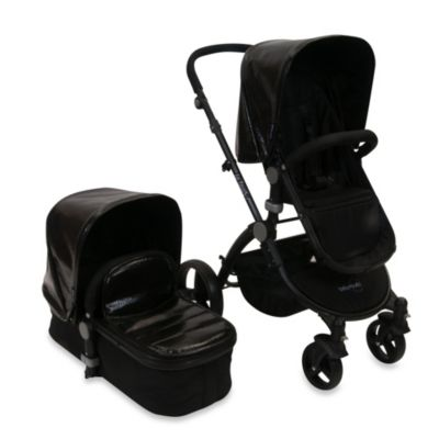 babyroues letour lux II classique Bassinet and Stroller Black Frame System in Croco Black
