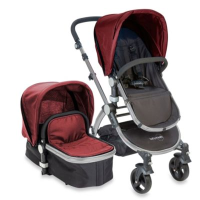 babyroues letour II Bassinet and Stroller Frosted Silver Frame System in Raspberry