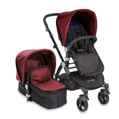 babyroues letour II Bassinet and Stroller Black Frame System in Raspberry