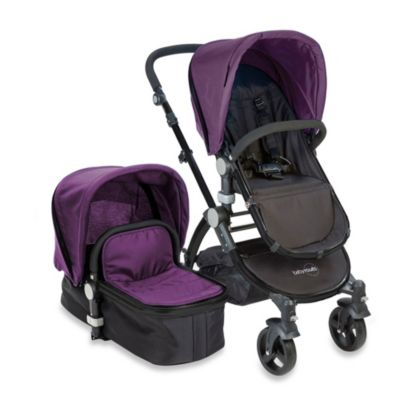 babyroues letour II Bassinet and Stroller Black Frame System in Purple