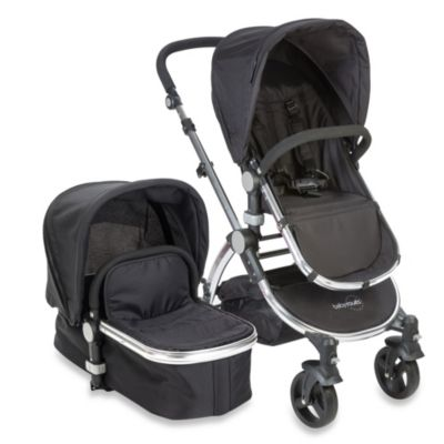babyroues letour II Bassinet and Stroller Frosted Silver Frame System in Black