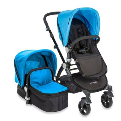 babyroues letour II Bassinet and Stroller Black Frame System in Blue