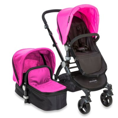 babyroues letour II Bassinet and Stroller Black Frame System in Pink
