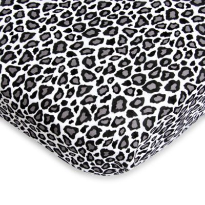 Caden Lane® Girly Aqua Leopard Fitted Crib Sheet