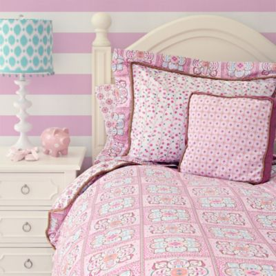 Caden Lane® Modern Vintage Girl Full Duvet Cover in Pink