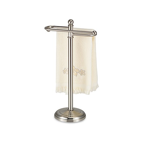 Satin Nickel Finish Towel Tree with Curved Arms