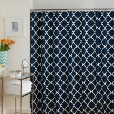 Jill Rosenwald 54-Inch x 72-Inch Hampton Links Shower Curtain in Navy/White