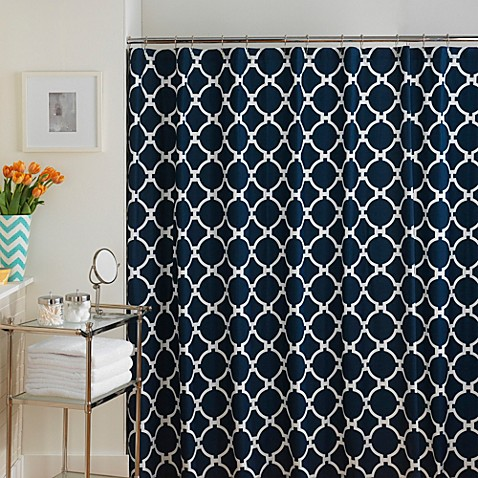 hampton links shower curtain in navy white