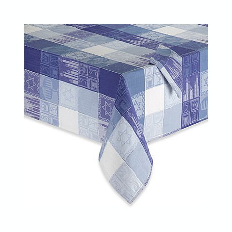 Chanukah Holiday Tablecloth and Napkin, 99% Cotton/1% Lurex