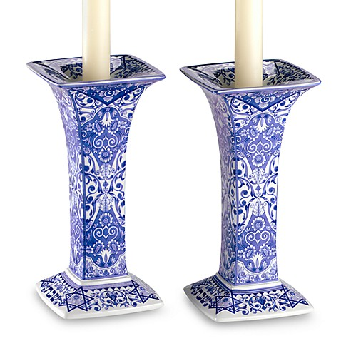Judaica Sabbath 7 1/2-Inch H Candlestick (Set of 2)