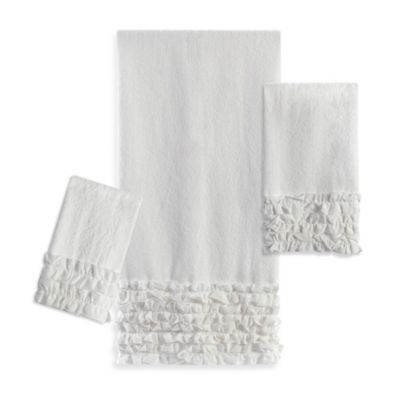 White Ruffle Bath Towels