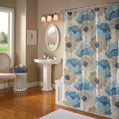 Poppies Shower Curtain in Aqua