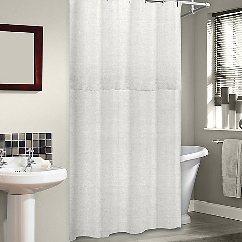 Soho 72 Inch x 75 Inch Linen Shower Curtain in Pearl Bed