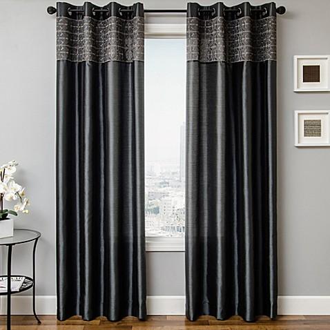 buy 84 inch grommet top window curtain panel in grey