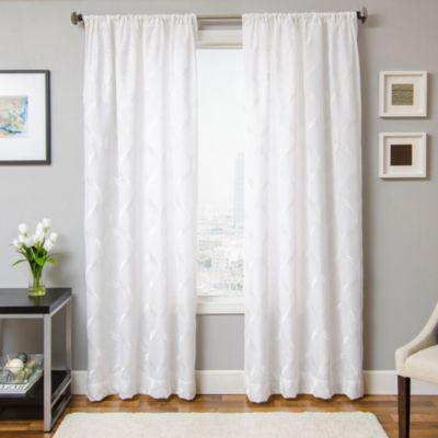 Softlines Reminisce Roxan 84-Inch Window Curtain Panel in White