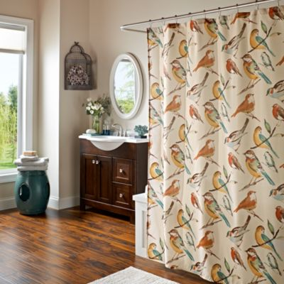 Fabric Shower Curtains with Birds