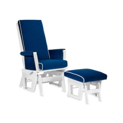 Dutailier® Contemporary Wood Glider in White/Royal Blue