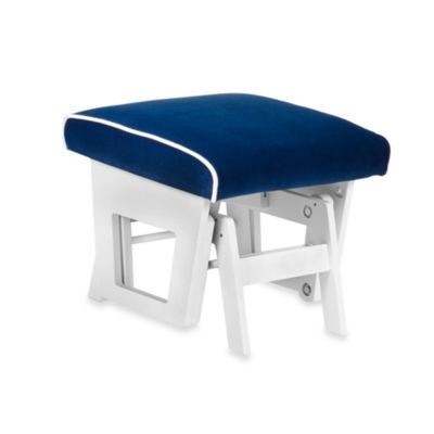Dutailier® Contemporary Wood Ottoman in White/Royal Blue