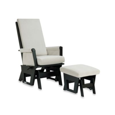 Dutailier® Contemporary Wood Glider in Black/Light Grey